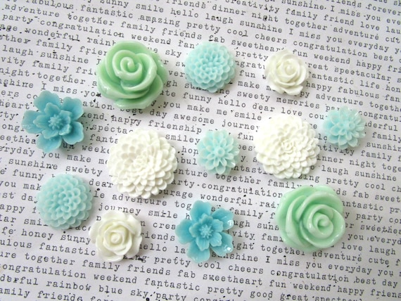5 pcs Turquoise green flower resin cabochon 15mm DIY headband /& hair bows