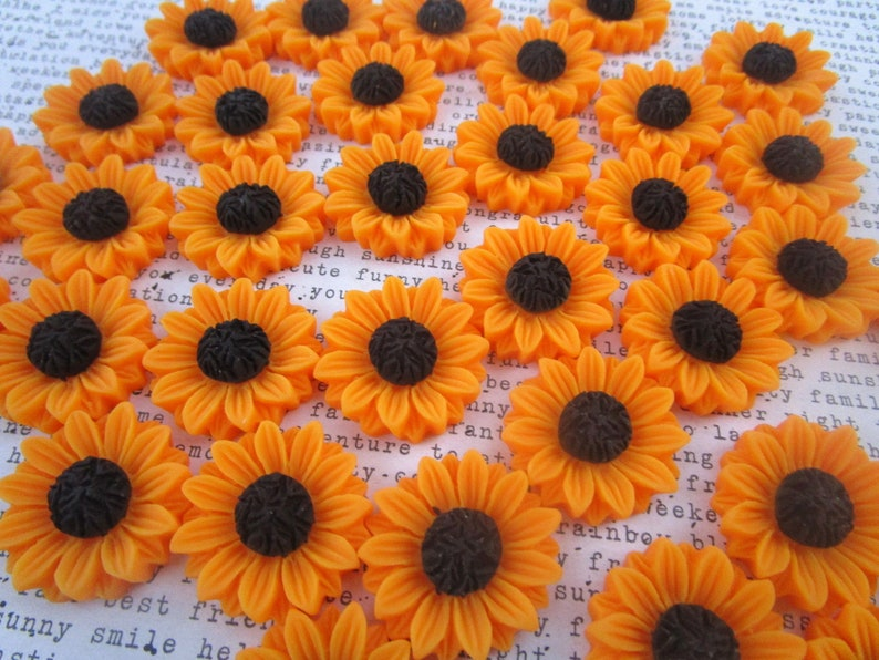Sunflower Cabochons  24mm  Resin Flower Cabochons  6 to 12 pcs  Flat Backs  NO Holes