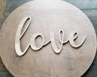 love script unfinished word sign - wall decor, unfinished wood decor, love sign, cursive word, craft word
