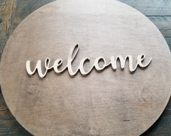 Welcome script unfinished word sign - wall decor, unfinished wood decor, welcome sign, cursive word, craft word