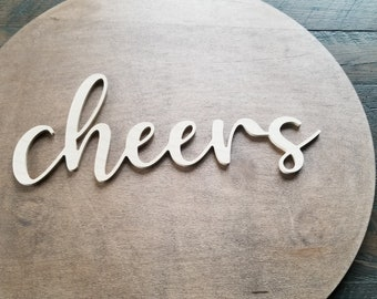 cheers script unfinished word sign - wall decor, unfinished wood decor, cheers sign, cursive word, craft word