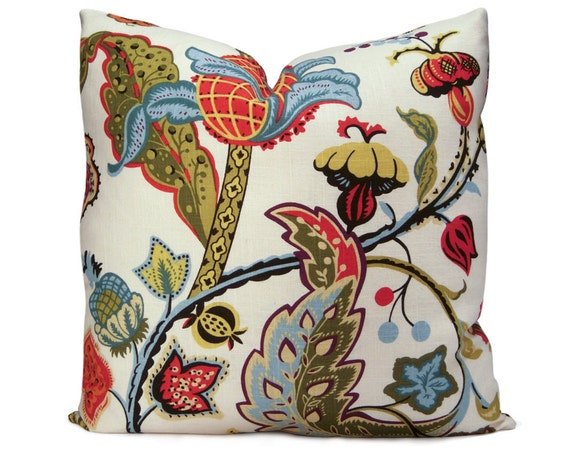 Wilmington Multi Floral Pillow Cover In Red Blue Yellow