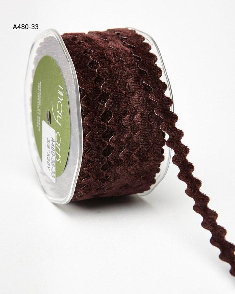 2 Yards-38 Inch Adhesive Velvet Ric Rac Ribbon---A480-38-33 BROWN---May Arts Ribbon