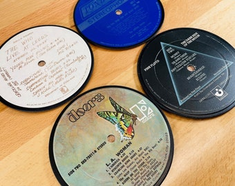 4 COASTERS - Record Album Coasters, vinyl record drink coasters, rock n roll music gift