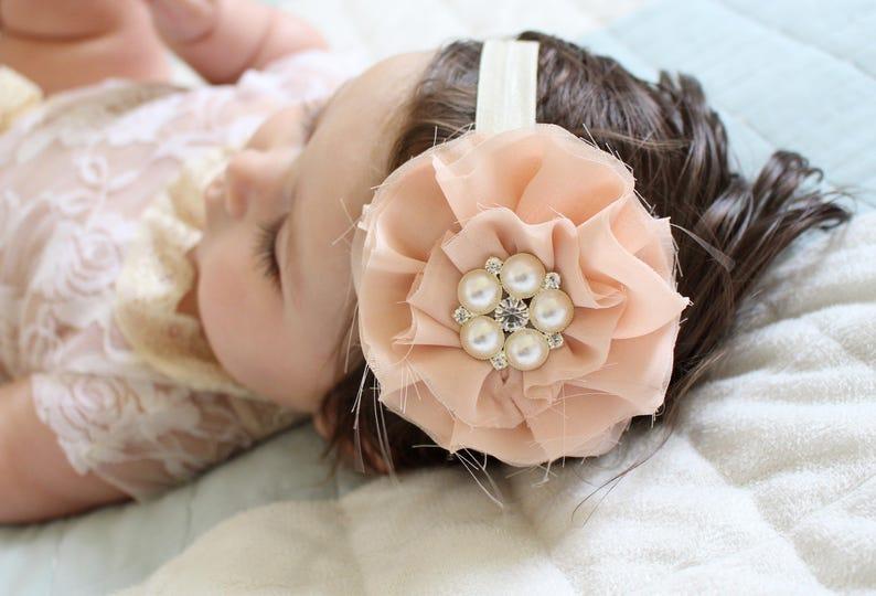 Blush Flower Clip Blush flower headband Shabby Flower Clip image 0
