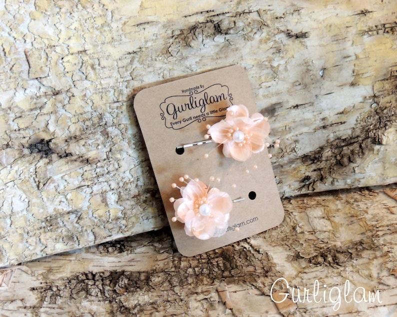 Peach Flower Hair Pins Hair spray pins bridal hair clips image 0