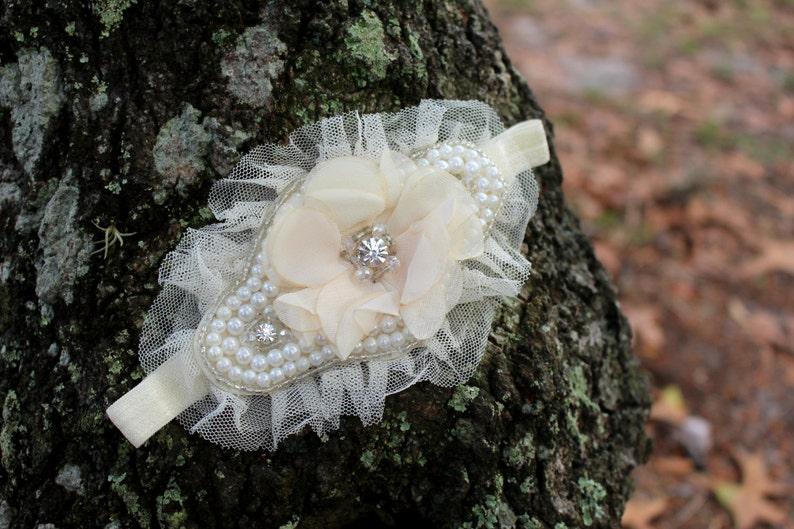 Flower Girl HeadbandBridal headband Blush Flower beaded image 0