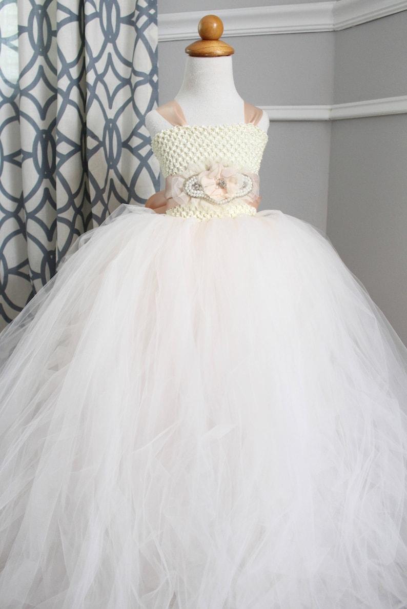 Blush Flower Girl Dress Blush Vintage Pearl Tutu Dress image 0