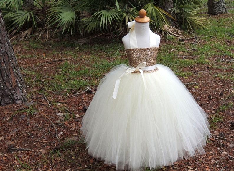 1d57d9e8745 Champagne Sequin Tutu Dress Sequin Flower Girl Dress Sequin