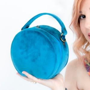 Vanity Case Women/'s Bag Fabric Handbag Evening Purse Vintage Style Bag Crossbody Bag yellow velvet Bag Round Bag Circle Bag
