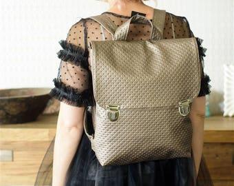 Backpack, Laptop Backpack, Vegan Backpack, Faux Leather Backpack, Bronze Bag, College Backpack, School Bag, Fabric Bag, Ipad Bag, Book Bag