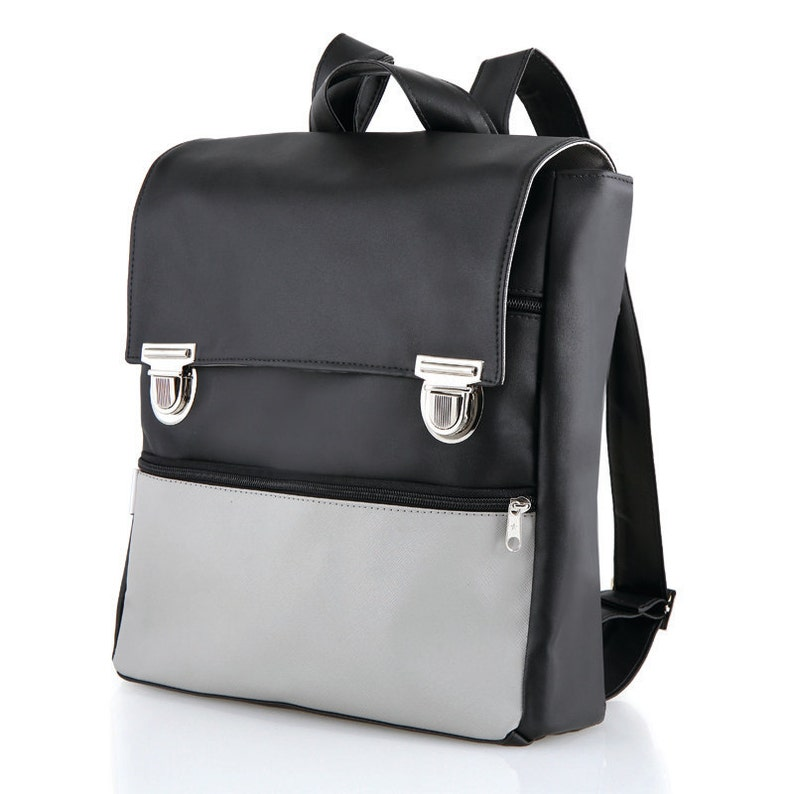 bdb940a4c8 Vegan Backpack Faux Leather Backpack Student Laptop Bag