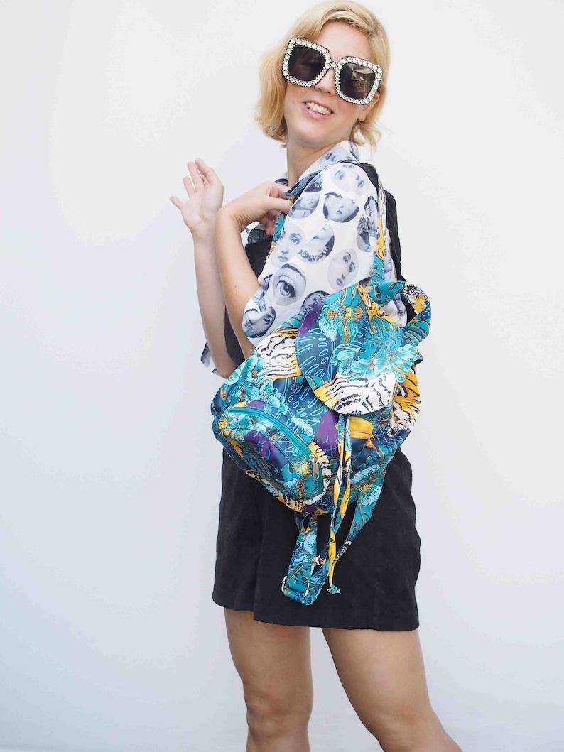 Hipster bag Turquoise Bag Small Backpack Bag Women Bag Vegan Bag Eco Bag Fabric Bag Retro Bag Vegan Backpack Work Bag