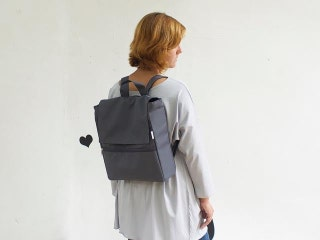Gray vegan backpack, Eco friendly fabric laptop backpack with many pockets, Water resistant, Great for school and college and for traveling