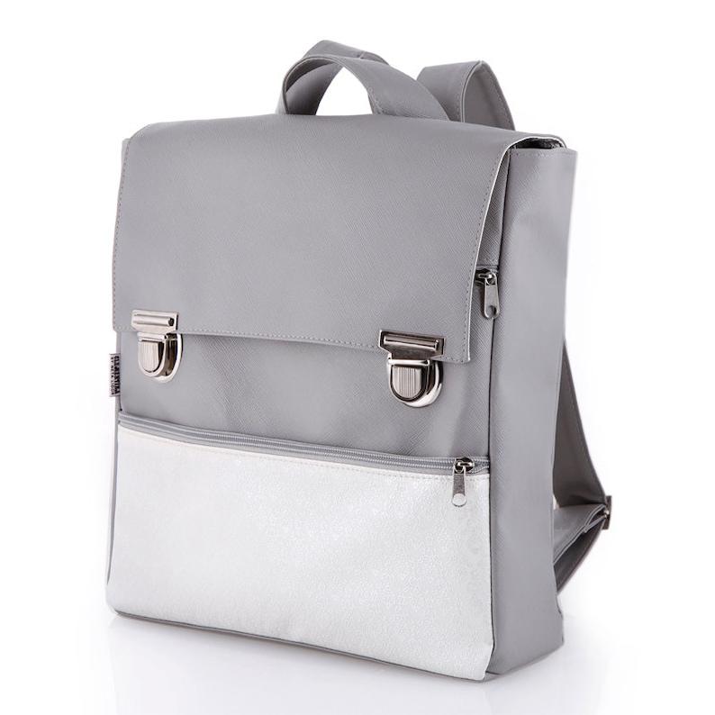 1d5359be9c5 Laptop Bag College Backpack Student Bag Vegan Gray Faux