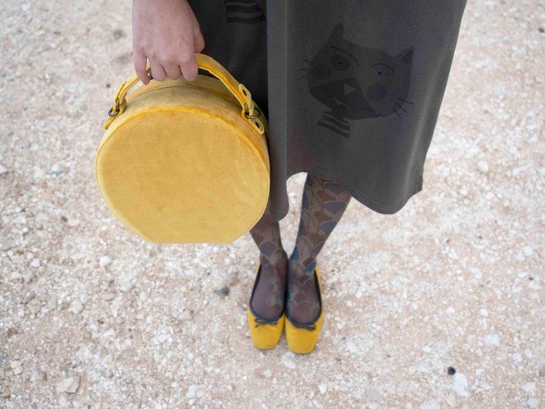 Evening Purse Yellow Bag Women/'s Bag Round Bag Crossbody Bag Vanity Case Circle Bag Vintage Style Bag Fabric Handbag