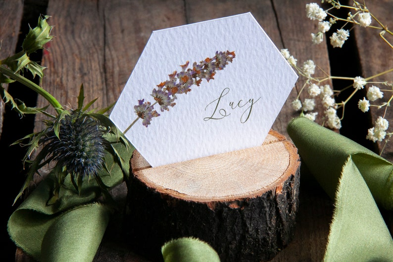 Personalised WILD MEADOW Hexagonal Place Cards