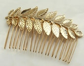 ON SALE: bride hair comb - 24k gold plated Bridal hair comb - Bridal Hair Piece - Gold hair comb - Hollywood Bridal Headpiece