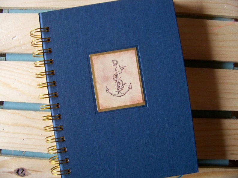 Nautical theme book journal diary planner altered book anchor image 0