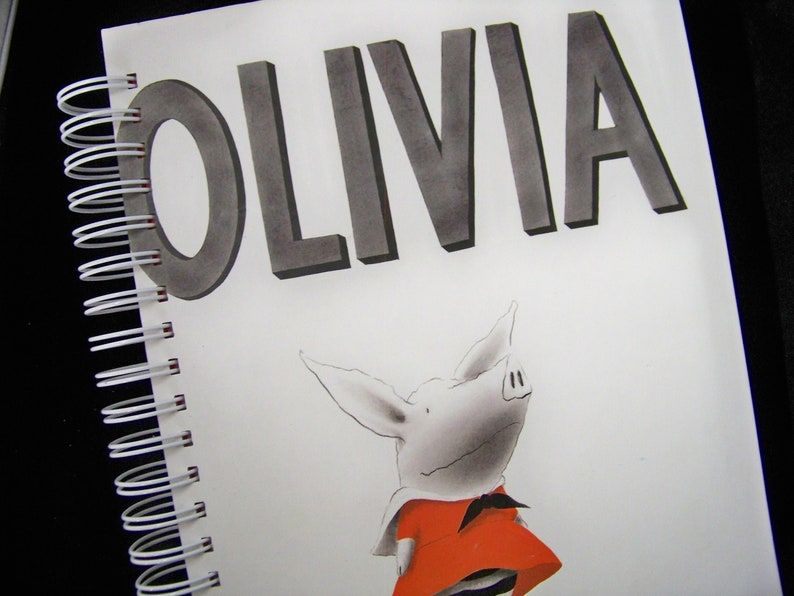 Olivia blank book journal diary notebook altered book pig image 0