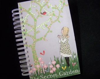 Secret Garden book journal planner altered book notebook upcycled
