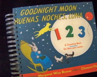 Goodnight Moon SPANISH and English blank book journal diary planner notebook altered book