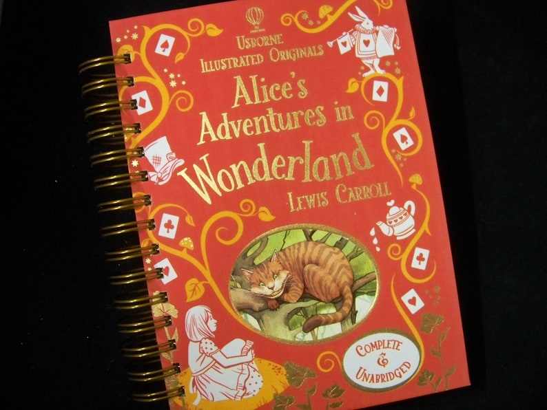 Alice in Wonderland blank book journal diary planner altered image 0