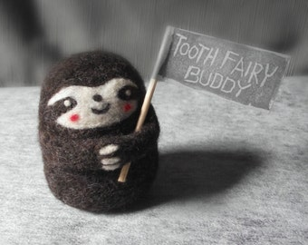 Personalized Sloth Tooth Fairy Pillow, Needle Felted Baby Sloth Tooth Fairy Buddy