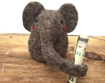 Personalized Elephant, Needle Felted Baby Elephant Tooth Fairy Buddy