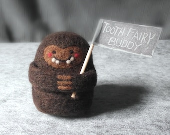 Tooth Fairy Pillow, Boys Girls Tooth Fairy Buddy, Needle Felted Baby Big Foot, Personalized