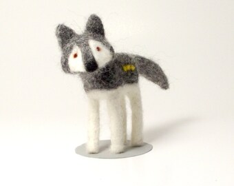Woolsey The Wolf Needle Felt Timber Wolf Felted Animal Soft Sculpture Wolf Gifts
