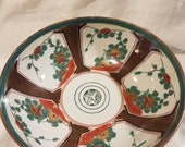 Vintage Ceramic Japan Hand Painted Gold Paneled Imari Bowl with Birds