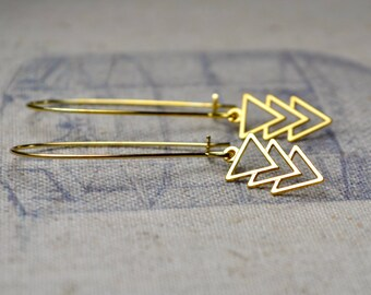 Gold Geometric Earrings, Triangle Dangle Earrings, Gold Chevron Earrings, Arrow Jewelry, Gold Vermeil Earrings, Gift for Mum, Birthday Gift