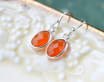 Carnelian Earrings, Gemstone Earrings, Dainty Drop Earrings, Sterling Silver Carnelian Jewelry, Orange Earrings, UK, Orange Gifts, For Her