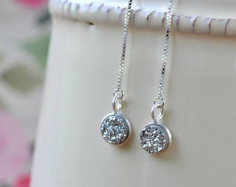 Silver Druzy Earrings, Chain Earrings, Threader Druzy Earrings, Sterling Silver Thread Earrings, Druzy Jewelry, Mothers Day Gift for Women