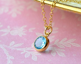Dainty Swiss Blue Topaz Necklace, Gold Filled Jewellery, December Birthstone Gift for Women