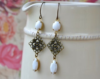 Long White Earrings, Art Deco Style