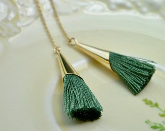 Green Tassel Earrings, Tassel Threader Earrings, Green Long Earring, Sage Green Wedding Jewelry, Gold Filled Green Dangly Earrings Wife Gift