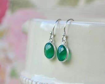 Green Onyx Earrings, Sterling Silver Earrings, Onyx Jewelry, Dainty Drop Earrings, Emerald Green Gem Earrings, Green Gifts for Women, Wife