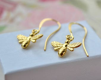 Gold Bee Earrings, Bee Dangle Earrings, Honey Bee Jewelry, Gold Vermeil Earrings, Cute Gold Earrings, Bumble Bee Gifts, Bee Lovers Gift