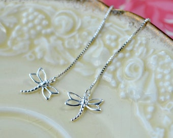Sterling Silver Dragonfly Earrings, Threaders