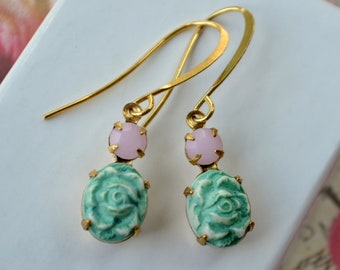 Reliable Unusual Detailed Silver Tone Enamel Mint Green Blue Rhinestone Disc Earrings Fashion Jewelry Jewelry & Watches