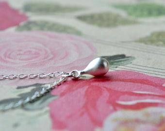 Silver Drop Necklace, Dainty Teardrop Pendant, Sterling Silver Necklace Wife Gift, Sterling Silver Jewelry Petite Necklace, Silver Necklace
