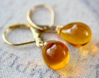 Yellow earrings, Tear drop earrings, Bead dangle earrings, Amber yellow glass earrings, Best selling Items, Yellow teardrops, Gift
