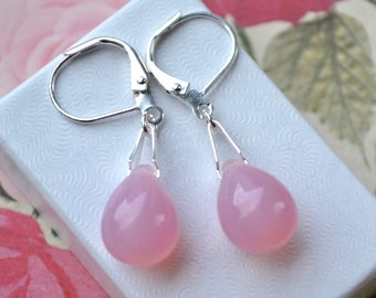 Baby Pink Earrings, Pink Teardrop Earrings, Leverback Earrings, Pale Pink Earrings, Light Pink Jewelry, Small Drop Earrings, Gift for Women