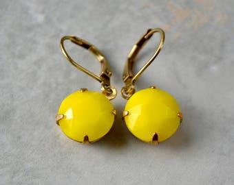 Lemon Yellow Earrings, Small Round Earrings, Vintage Glass Earrings, Yellow Jewellery, Brass Leverback Drop Earrings, Yellow Gift, For Her