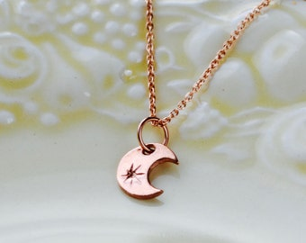 Rose Gold Moon Necklace, Moon & Star Necklace, Crescent Necklace, Moon Jewellery, Tiny Moon Necklace, Celestial Jewelry, Minimalist Necklace