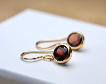 Garnet Earrings, Gold Fill Earrings, Red Gemstone Tiny Earrings, January Birthstone Gift For Her, Garnet Jewelry, Small Dainty Gold Earrings