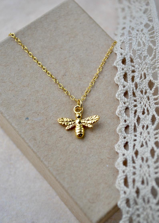 6ec8709b48cb5c Gold Bee Necklace Honey Bee Pendant Gold Vermeil Pendant | Etsy