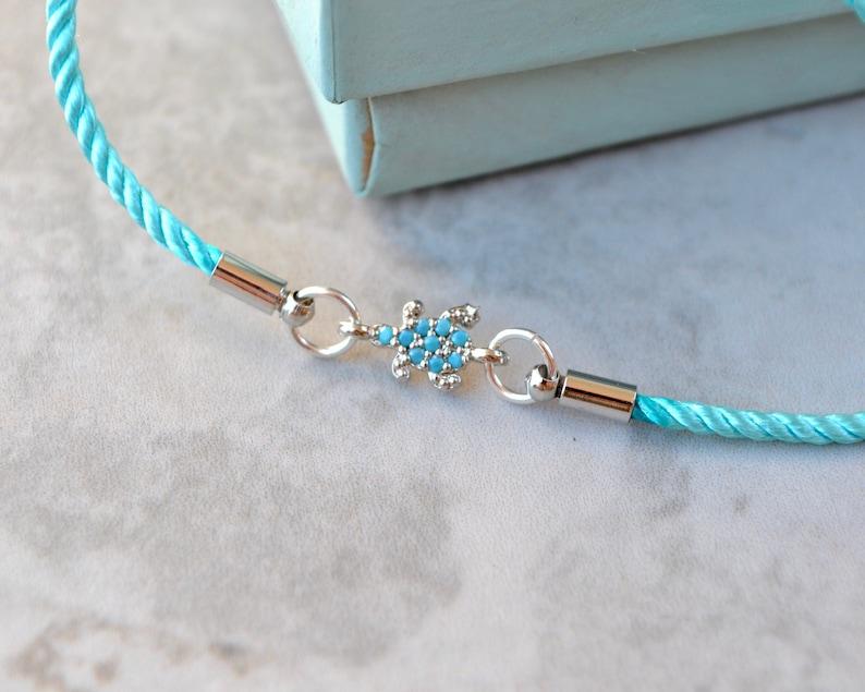 Silver slider clasp Turquoise turtle bracelet Aqua blue friendship bracelet with pave tortoise charm /& skinny bracelet cord